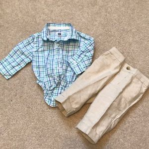 Janie and Jack button down top and linen pants